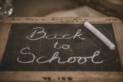 black board with back to school written on in chalk