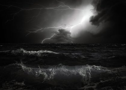 sea during a storm with lightening